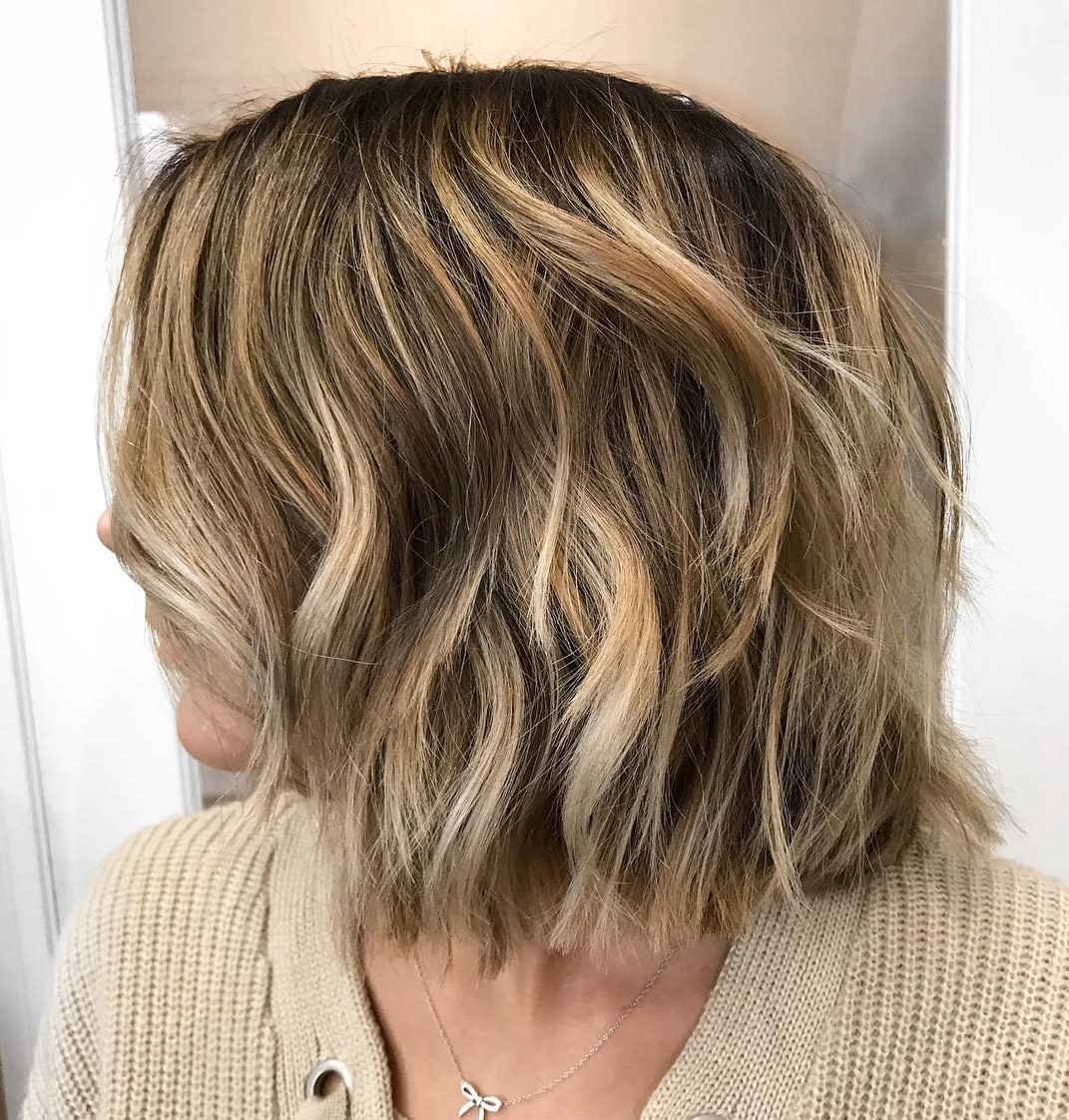 Brunette Bob With Blonde Balayage
